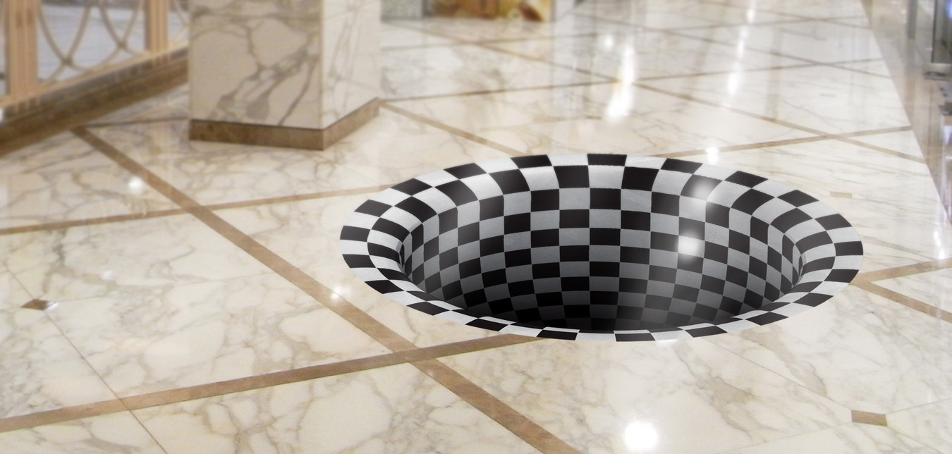 """Checkered Hole in the Ground"" 3D Floor Graphic"