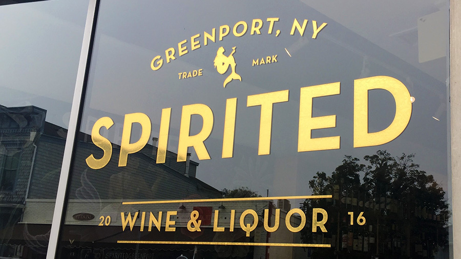 Gold Storefront Window Graphic for a Wine and Liquor Store