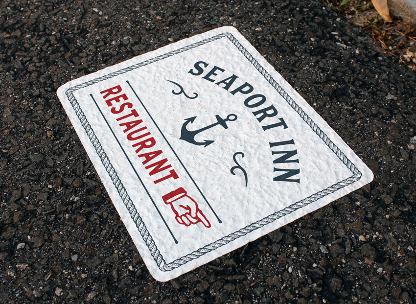 Seaside Restaurant Floor Graphic on Asphalt / Sidewalk