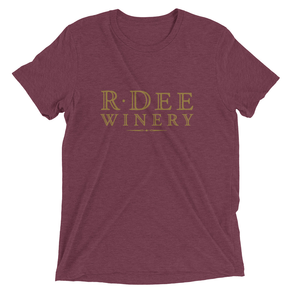 R Dee Winery maroon triblend shirt front