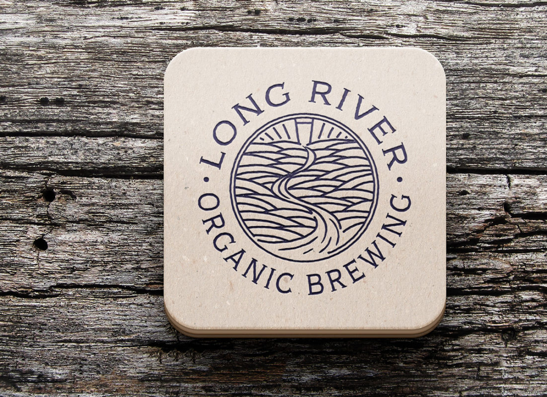 Long River Brewing logo on a coaster