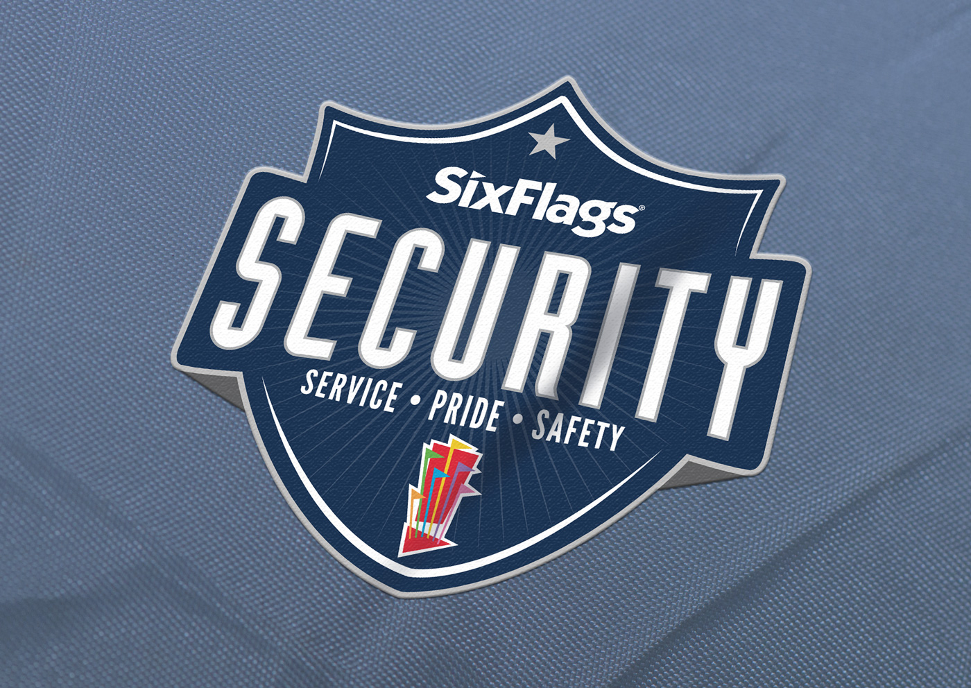 Six Flags Security Logo on Uniforms and Apparel
