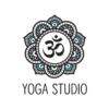 Option 1: Mandela-style yoga logo with om symbol, white background variation