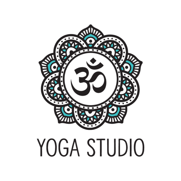 Option 1: Mandela-style yoga logo with om symbol, white background variation