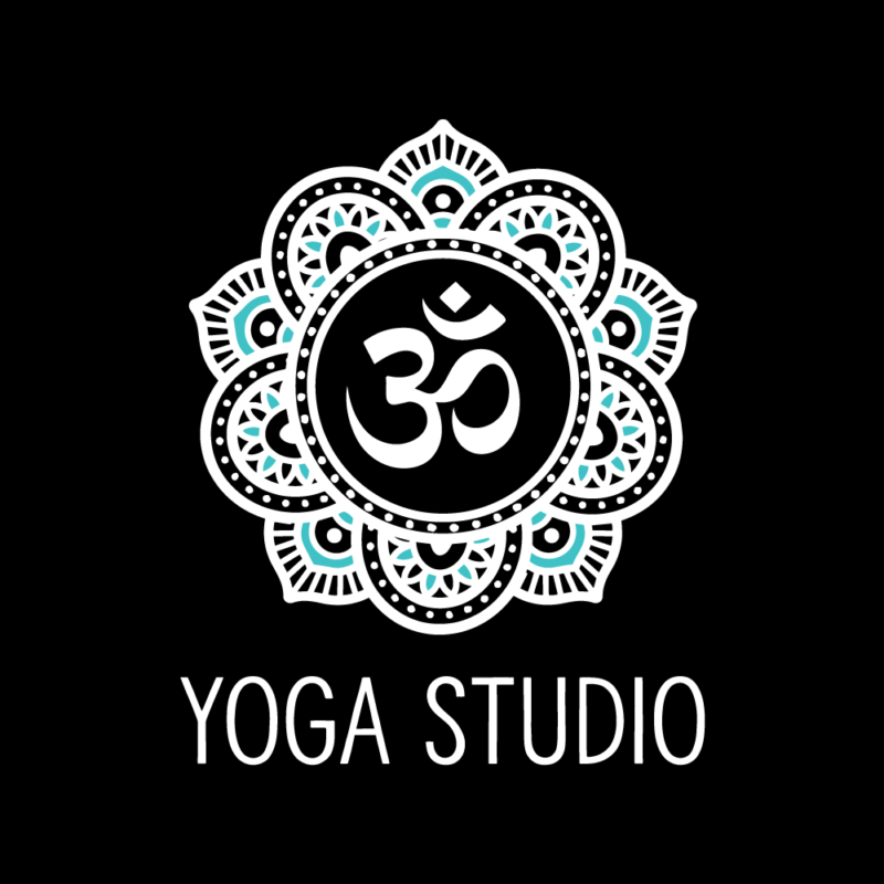 Option 1: Mandela-style yoga logo with om symbol, dark background variation