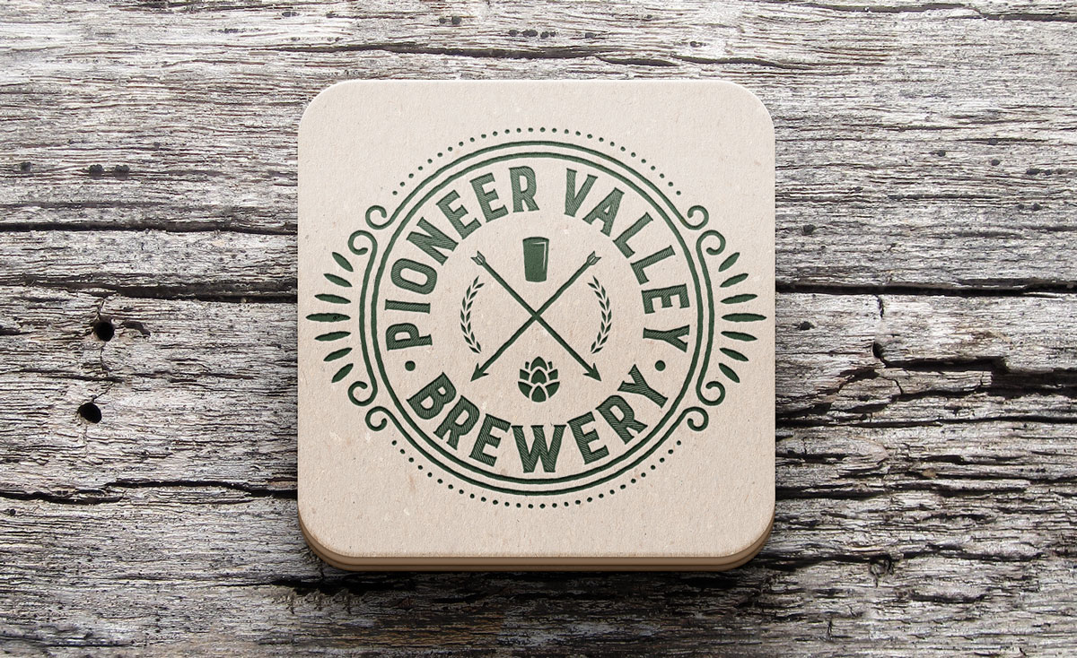 Pioneer Valley Brewery Logo on Coaster